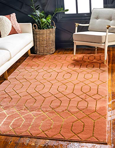 - Unique Loom Marilyn Monroe Glam Collection Textured Geometric Trellis Coral Gold Area Rug (2' 0 x 3' 0)
