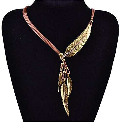 Bracelet Monet Pattern (CAIYCAI Feather Necklaces & Pendants Rope Leather Maxi Colar For Statement Necklace Women Jewelry Brwon gold leaf onesize)