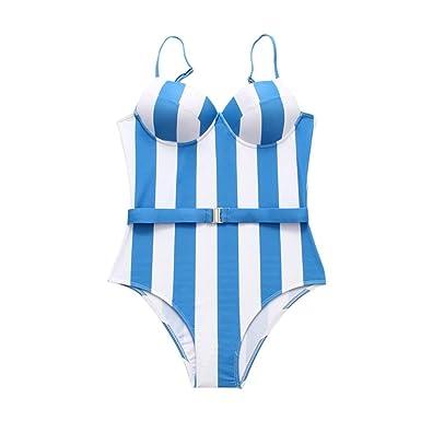 458e23a4dd75 Traje de baño Mujer Deportivo Rayas POLP Camisolas Bikinis Tallas Grandes  Mujer Bañadores de Mujer Natacion Ropa de baño Mujer una Pieza S-L:  Amazon.es: ...