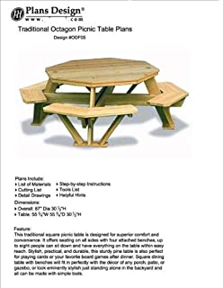 Traditional Octagon Picnic Table Plans / Pattern (How To Build A Outdoor  Furniture Table,
