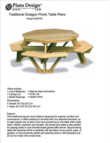Traditional Octagon Picnic Table Plans / Pattern (How to build a outdoor furniture table, design # ODF05) (Picnic Printed Table)