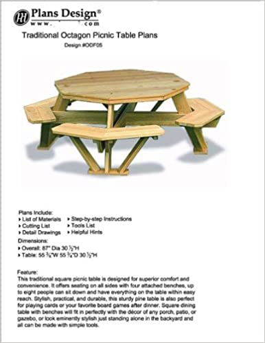 Traditional Octagon Picnic Table Plans Pattern How To Build A Outdoor Furniture Design Odf05 Woodworking Amazon Com Books