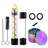Twisty Glass Blunt Kit - Mini Pipes + Rainbow Grinder + Brushes for Herb Smoking, Pawaca Safe Durable Easy Cleaning Set