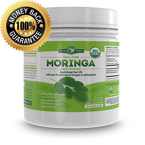 Organic Moringa Powder - 100% Pure Moringa Oleifera Leaf Powder in 8oz Jar - Single Origin Cultivation, Processing and Packaging from Nicaragua. Certified USDA Organic