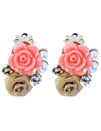 YAZILIND Yellow Pink Flowers Faux Pearl Rhinestone Clip On Earrings Mother's Day Gift