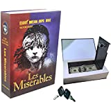 Real Paper Book Locking Booksafe with Key Lock Dictionary Secret Hidden Safe (Les Miserables)