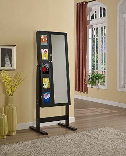 Artiva USA Free-Standing Cheval Mirror and Jewelry Armoire Double Door Display Stand with Photo Frame and Key Lock, 62.5 , Royal Black