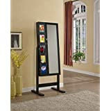 "Artiva USA Free-Standing Cheval Mirror and Jewelry Armoire Double Door Display Stand with Photo Frame and Key Lock, 62.5"", Royal Black"