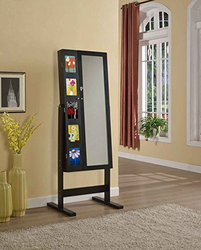Artiva USA Free-Standing Cheval Mirror and Jewelry Armoire Double Door Display Stand with Photo Frame and Key Lock, 62.5'', Royal Black by Artiva USA