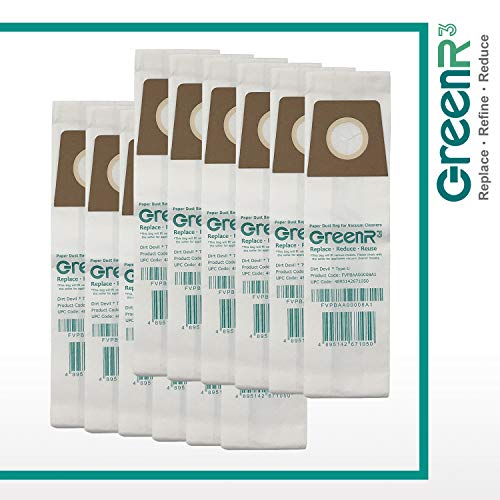 GreenR3 12-Pack Replacement Vacuum Bags Dust Bags for Dirt Devil Type U Fits 3-920750-001 3920047001 3920750001 3920048001 MDU6300 UD30000 M091015 HDU500 M091000 M091010