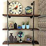 KINGSO Industrial Urban Style Pipe Shelving Bookshelf Wall Mount Iron Pipe Shelf Huang Bracket Pipe Wall Shelf DIY Storage Organizer