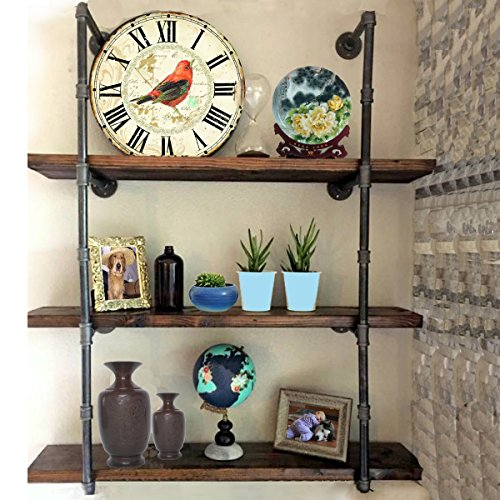 KINGSO Industrial Urban Style Pipe Shelving Bookshelf Wall Mount Iron Pipe Shelf Huang Bracket Pipe Wall Shelf DIY Storage Organizer by KINGSO