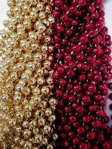 49ers 1 dozen Red Gold Superbowl Mardi Gras Party Favors Football Beads Tailgate by Party Supplies