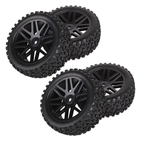 DN Front Rear Wheel Rim Rubber Tyre Tires 66016-66036 for RC 1:10 Off-Road (Pack OF 4)