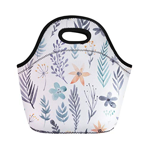 - Semtomn Lunch Tote Bag Flower Floral Watercolor Beautiful Romantic for Pages Save the Reusable Neoprene Insulated Thermal Outdoor Picnic Lunchbox for Men Women