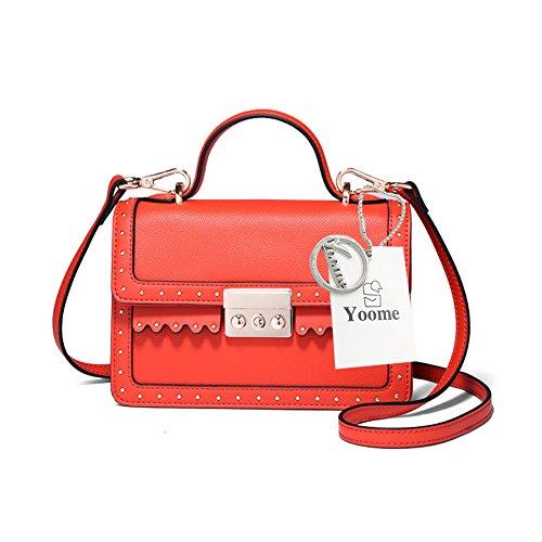 Yoome Punk estilo de la aleta de bolsos de remaches de color puro Top Handle bolsos para las mujeres bolso de mano con bolsillos - blanco rojo