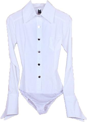 E-SHINE CO Algodón de Manga Larga OL Body Camisa con Botones Blusa de la Mujer: Amazon.es: Ropa y accesorios