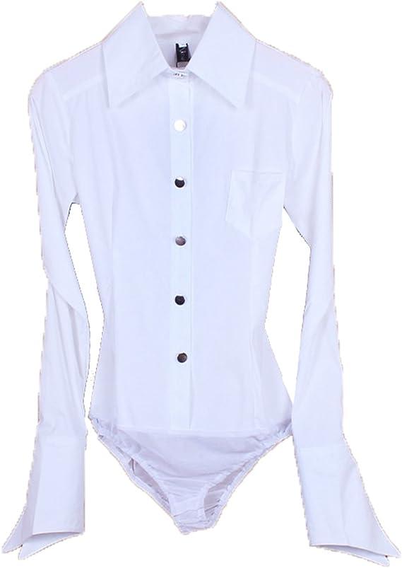 ZAMME CO Algodón de Manga Larga OL Body Camisa con Botones ...