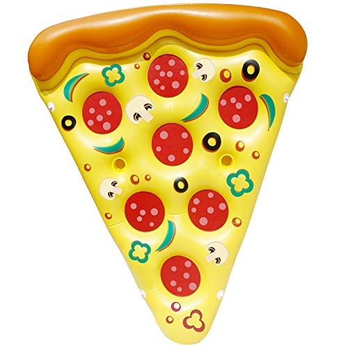 (JOYIN Giant Inflatable Pizza Slice Pool Float, Fun Pool Floaties, Swim Party Toy, Summer Pool Raft (1 Pack), Extra Large with Cup Holders)