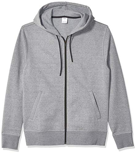 Amazon Essentials Men's Water-Repellent Thermal-Lined Full-Zip Fleece Hoodie, Grey Heather, Large
