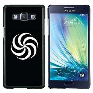 LECELL--Funda protectora / Cubierta / Piel For Samsung Galaxy A5 A5000 -- Espiral Blanco y Negro --