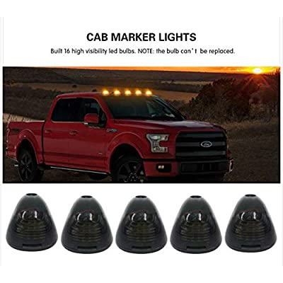 16LED Black Smoked Lens with Amber Cab Roof Top Marker Lamps Clearance Running Lights Assembly For 2002-2016 Ford E/F Super Duty Pickup Truck: Automotive