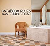 discounted home decor Decal – Vinyl Wall Sticker : BATHROOM RULES WASH - BRUSH - FLUSH Quote Home Living Room Bedroom Decor DISCOUNTED SALE ITEM - 22 Colors Available Size: 6 Inches X 30 Inches