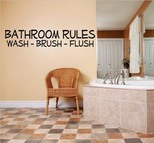 Decal – Vinyl Wall Sticker : BATHROOM RULES WASH - BRUSH - FLUSH Quote Home Living Room Bedroom Decor DISCOUNTED SALE ITEM - 22 Colors Available Size: 6 Inches X 30 Inches