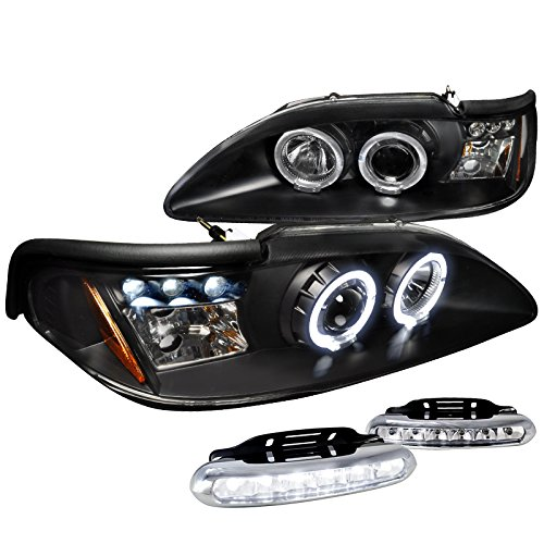 Mustang Projector Led Headlight - Mustang Halo Projector Headlight Signal Black+LED Fog Lamps