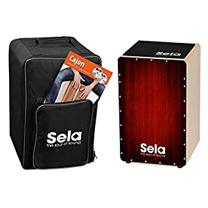 Sela SE 128 EN Varios Red Cajon Set with backpack, cajon pad, English cajon method, CD and DVD