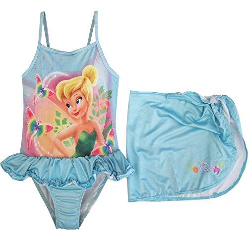 Disney Little Girls Tinker bell Print skirt 2 pc swimsuit 2t sky blue (Tinkerbell Bathing Suit)