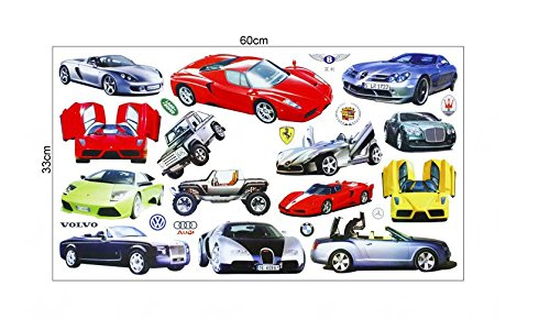 Wall Sticker Decal 14 Sports and Luxury Car Series Kids Bedroom and Kindergarten Mural Home Decor DIY Plastic Self Adhesive Removable by Sunshine Homes (Image #2)