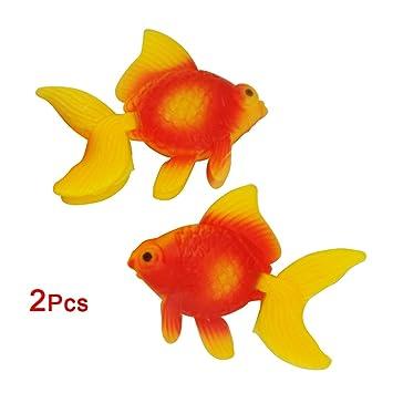 SODIAL(R) 2 x Pez de Colores de Imitacion Plastico para Decoracion de Acuario - Color Naranja: Amazon.es: Hogar