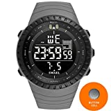 SMAEL 2017 Men Watches Big Dial Digital Watch Man Water Resisitant 5bar Led Watches Digital Date Sport Wrist Watches Stopwatch 1237 Series (Gray)