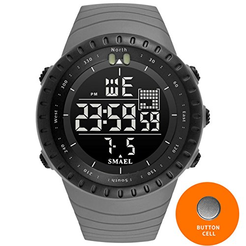 SMAEL 2017 Men Watches Big Dial Digital Watch Man Water Resisitant 5bar Led Watches Digital Date Sport Wrist Watches Stopwatch 1237 Series (Gray) by SMAEL