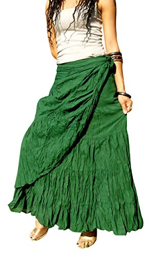 285271748c2 Billy s Thai Shop Long Wrap Skirts for Women - Elegant Stitched and Solid  Colored Handmade Flamenco Skirt