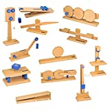 wooden simple machines - ETA hand2mind Wood Simple Machine Collection with Inclined Plane and Cart, Double Pulley, Lever (Set of 12)