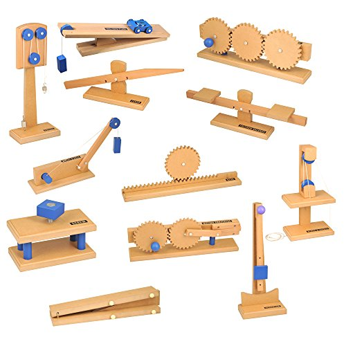 hand2mind Wood Simple Machine Collection with Inclined Plane and Cart, Double Pulley, Lever (Set of 12)