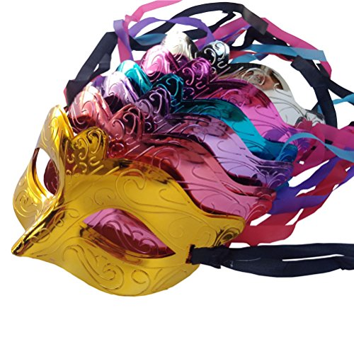 Arlai Halloween Party Half face Mask, Patriotic carnival decoration, pack of 12 (Plastic Masquerade Mask)