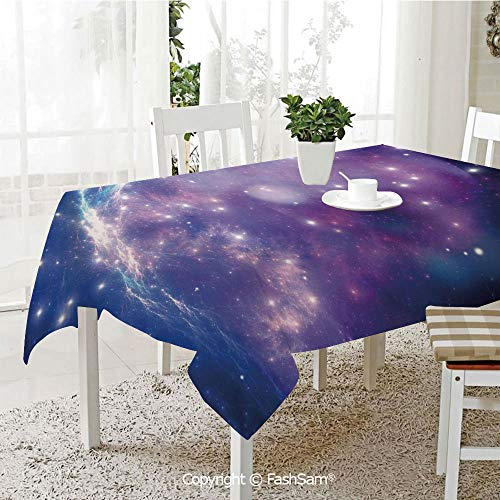 AmaUncle 3D Dinner Print Tablecloths Purple Nebula Mysterious Cluster Explosion Motion Smoky Dreamy Resistant Table Toppers (W60 xL84)]()