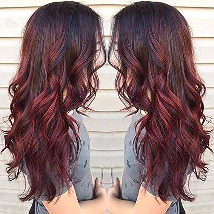 Pelucas para mujer, Lanceasy Peluca de pelo ondulado sintético de color rojo y negro degradado resistente al calor