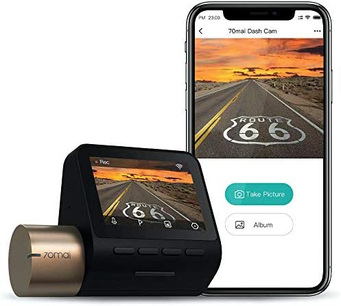 "70mai Dash Cam Lite, Smart Car Camera 1080p, WiFi Dash Camera for Cars Sony IMX307, 2"" LCD Screen, Parking Monitor, G-Sensor, Super Night Vision, Loop Recording, iOS/Android Mobile App WiFi (2021)"