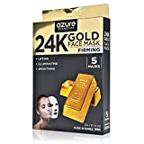 Facial Massage Increase Collagen - 24K Gold Firming Face Mask by Azure - Helps Reduce Spots and Wrinkles | Helps Increase Skins Elasticity | Helps Hydrate, Firm and Rejuvenate - 5 Pack