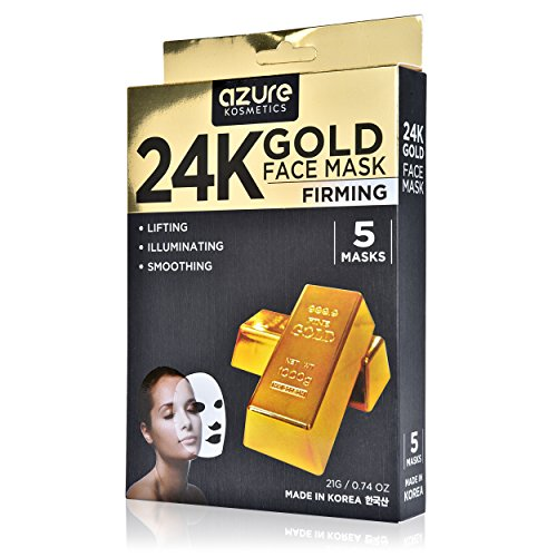 24K Gold Firming Face Mask by Azure - Helps Reduce Spots and Wrinkles | Helps Increase Skins Elasticity | Helps To Stimulate Facial Skin Cells and Nerves - 5 (Mask Gold Face)