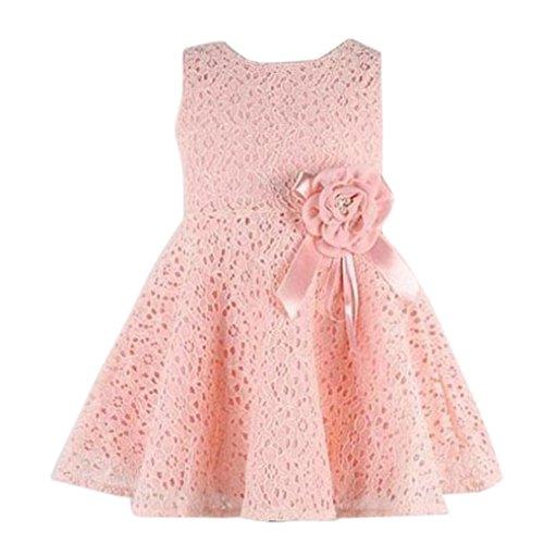 Xinan 1PC Mädchen-Kind-volle Spitze Blumen One Piece Kleid-Kind-Prinzessin-Partei-Kleid (90, rosa)