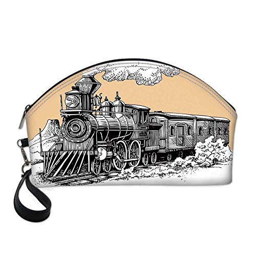 Steam Engine Small Portable Cosmetic Bag,Vintage Wooden Train Rail Wild West Wagon in Countryside Drawing Effect Artsy For Women,One size ()