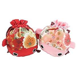 Cute Japanese Kimono Goldfish Drawstring Purse Pouch Bag 7.5″ x 6.5″ Pink Red