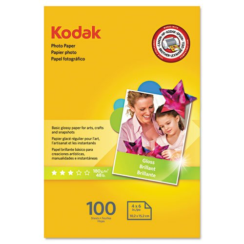 "KODAK Photo Paper Gloss 4""x6"", 100 count, 48lb-180g/m2 weight, 6.5 mil thickness (41160 - 1743327)"