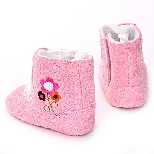 estamico bebé niñas invierno botas de nieve Suave Suela Zapatos Infantil Con Flor rosa rosa Talla:12-18 meses