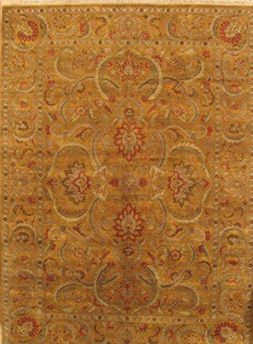 Agra Gold Area Rugs - Pasargad Carpets 24552 Agra Collection Hand-Knotted Lamb's Wool Area Rug, 10' 0